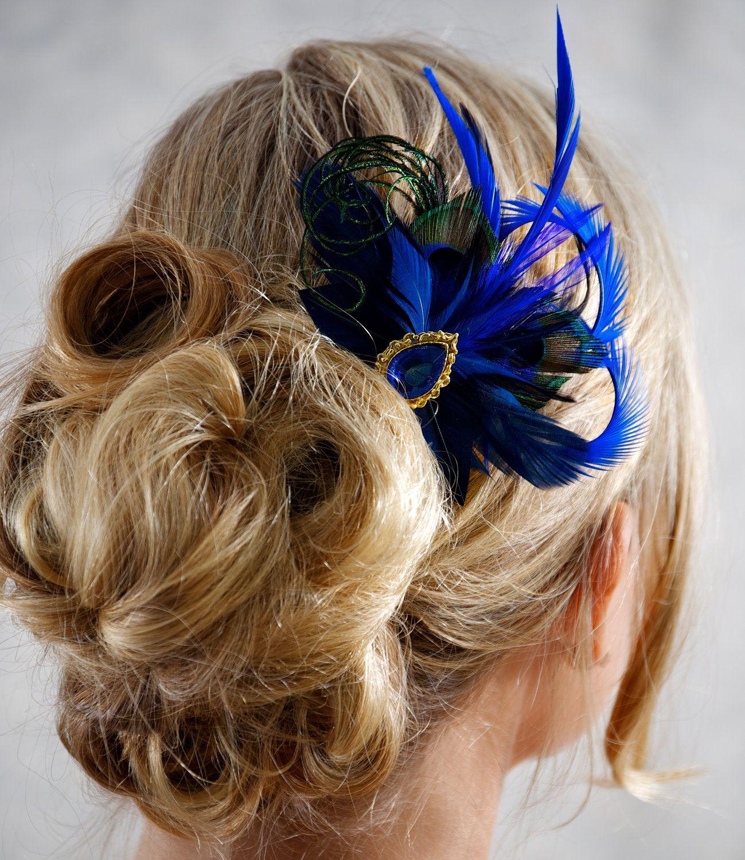 royal blue cobalt peacock feather bridesmaid hair accessories