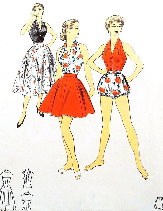 1950s SIZZLING Hot Beachwear Sportswear Pattern ADVANCE 6742 ...