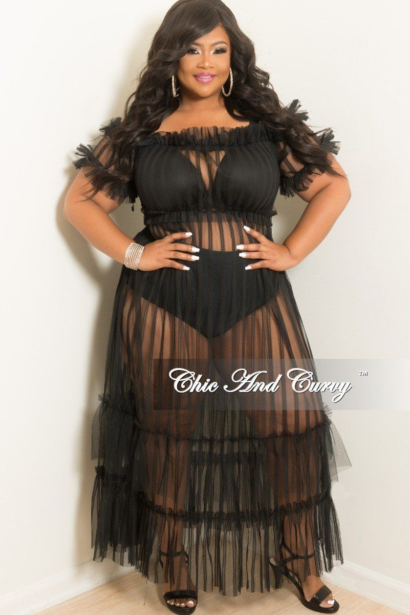 Final Sale Plus Size Off The Shoulder Sheer Mesh Maxi Dress in Black ...