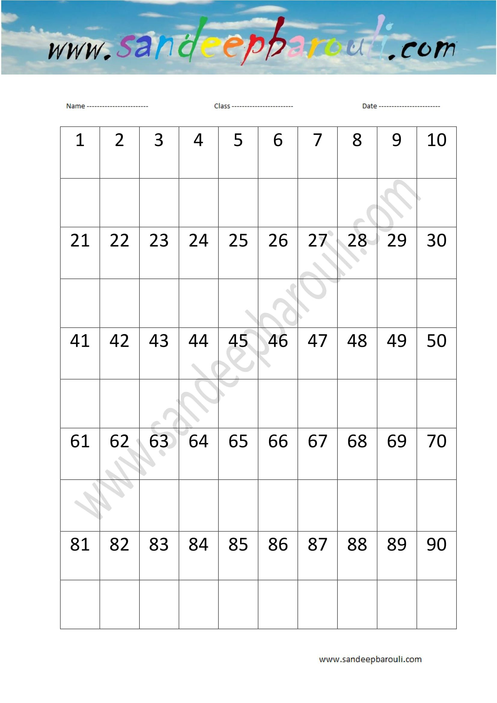 1 To 100 Counting Missing Numbers Worksheet 2