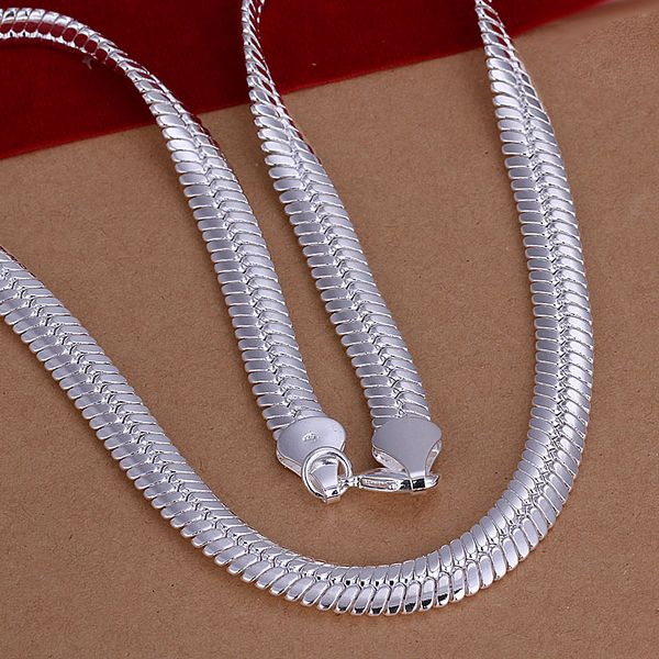 minimalist necklace sterling silver necklace 925 silver wide flat snake necklace wide chain silver chain gift for her
