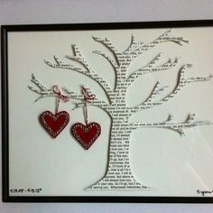 great anniversary gift cut lyrics of your wedding song into a tree