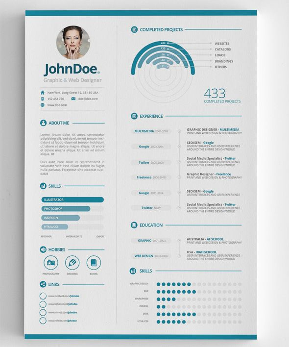 3-Piece Clean Infographic Resume CV template Pinterest - graphic resume examples