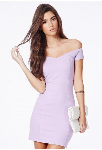 49a4812c8fdf Lilac Bardot Bodycon Dress- Missguidedus. Would look great with silver  heels and loose bouncy curls.  30