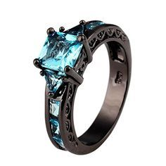 BRing Blue Sapphire Zircon Rings Black Gold Filled Fine Jewelry For