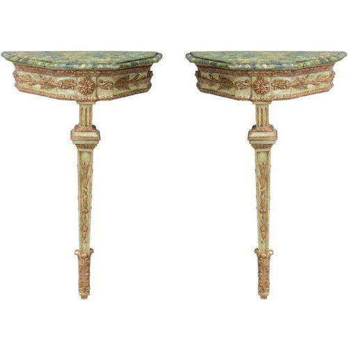 Italian Single Leg Console Tables : On Antique Row   West Palm Beach    Florida