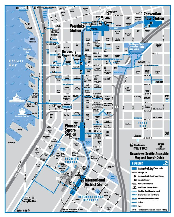 Seattle Accessibility Map | Seattle in 2019 | Seattle map, Downtown ...