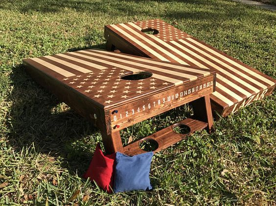Hand Made Corn Hole Boards 2 American Flag Woodstain Or