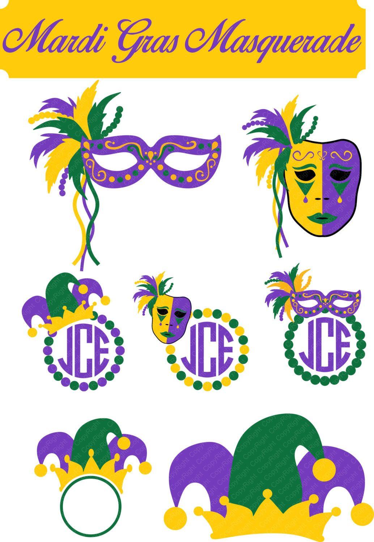 Mardi Gras Masquerade Mask Monogram Frame Set svg, eps