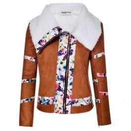 Zeagoo Women Casual lapel neck Long Sleeve Floral Fleece Zip-up Hoodie Jacket Outwear Coat