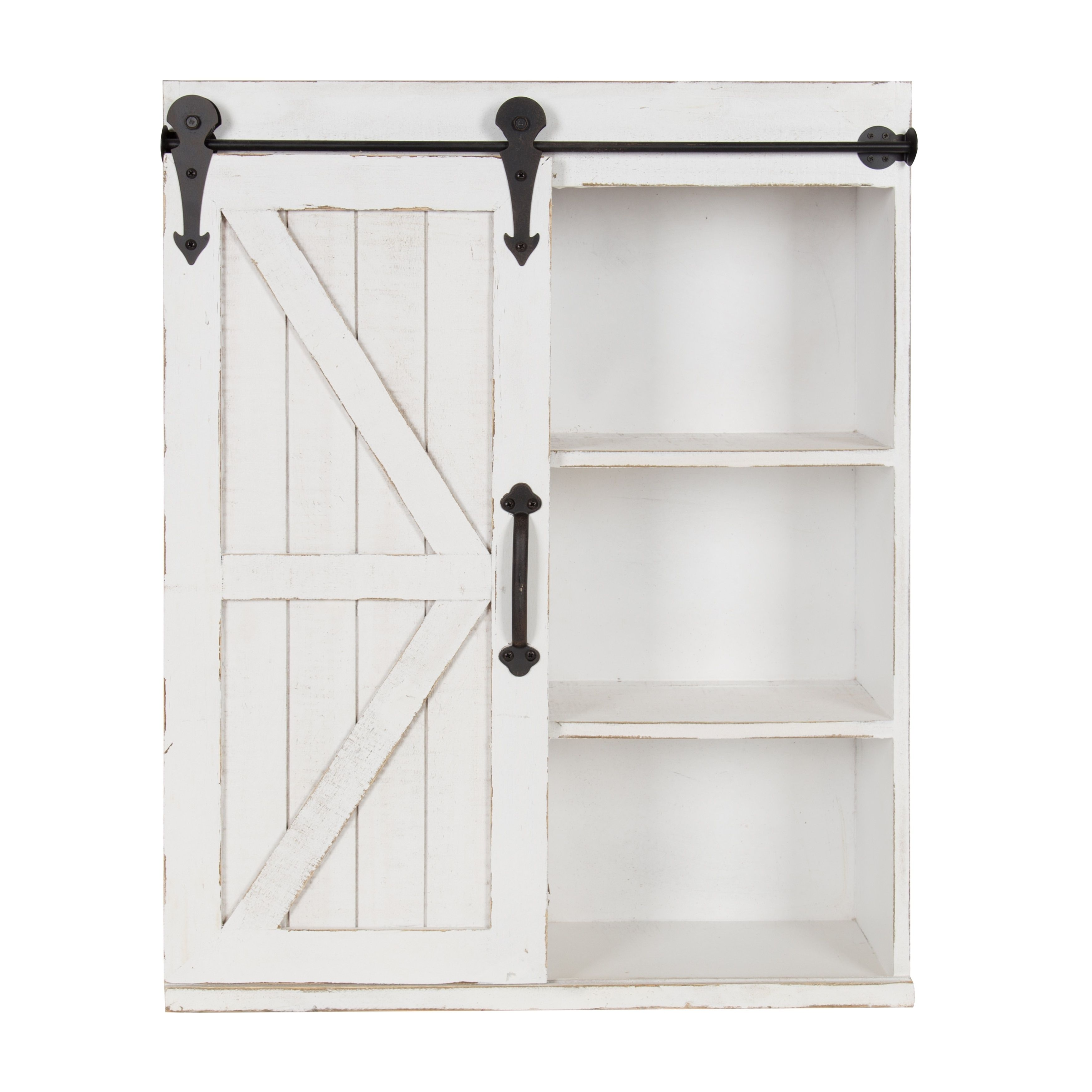 Kate And Laurel Wood Wall Storage Cabinet With Sliding Barn Door