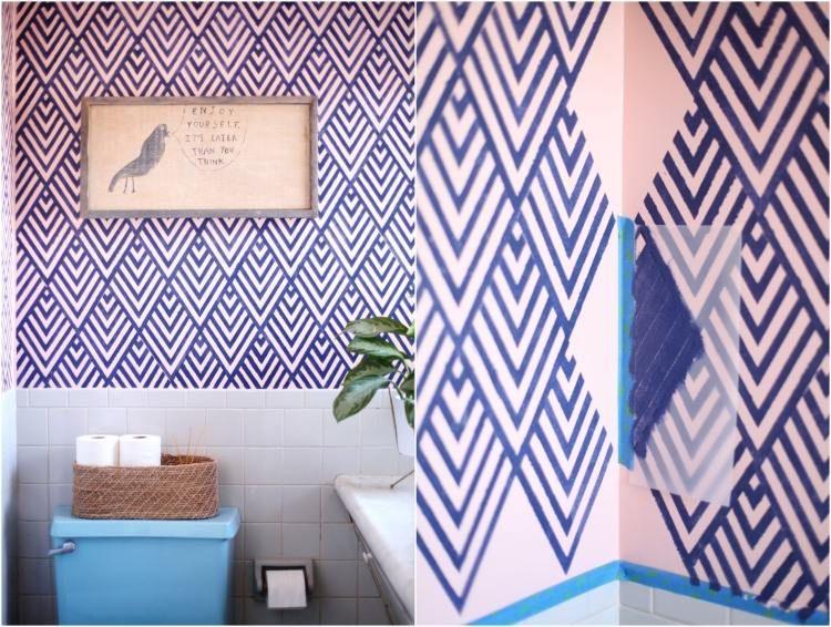 blaue Rautenmuster auf weißem Hintergrund streichen Rauten - malern ideen wnde