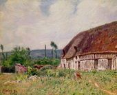 Thatched Cottage in Normandy, 1894 - Alfred Sisley - www.alfredsisley.org