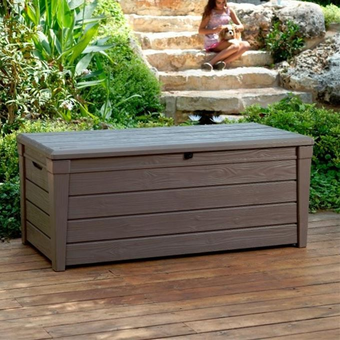 Keter Brightwood Plastic Garden Storage Box with Seat ...
