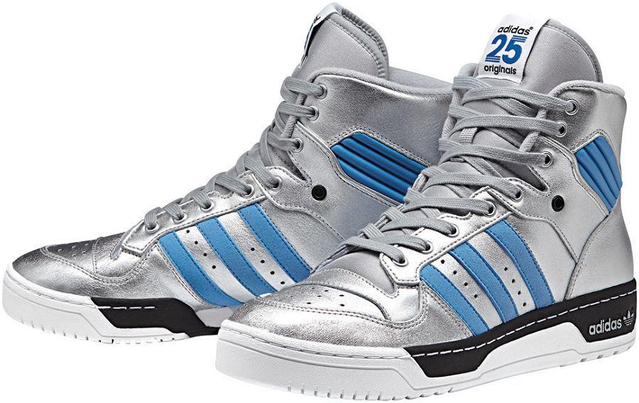 adidas originali rivalita 'ciao nigo argento metallico / blu polvere nera