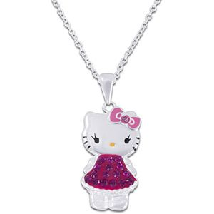 """Hello Kitty Crystal Accent Sterling Silver Pendant, 18"""""""