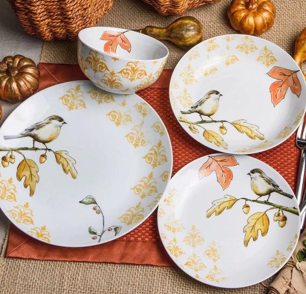 Harvest Bird Dinnerware Set 16 Piece Porcelain Dishes 4 Set Dinner