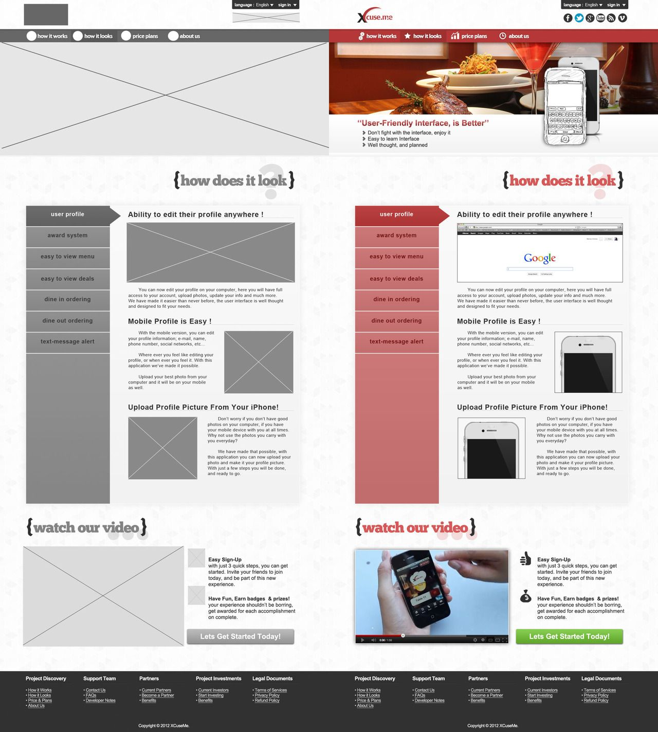 Website Comps For Xcuseme A Mobile App And Website Created By Students In Full Sail S Web Design De Web Development Design Create Website Design Development