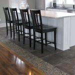 Dark Ocean Pebble Tile Kitchen Floor Accent