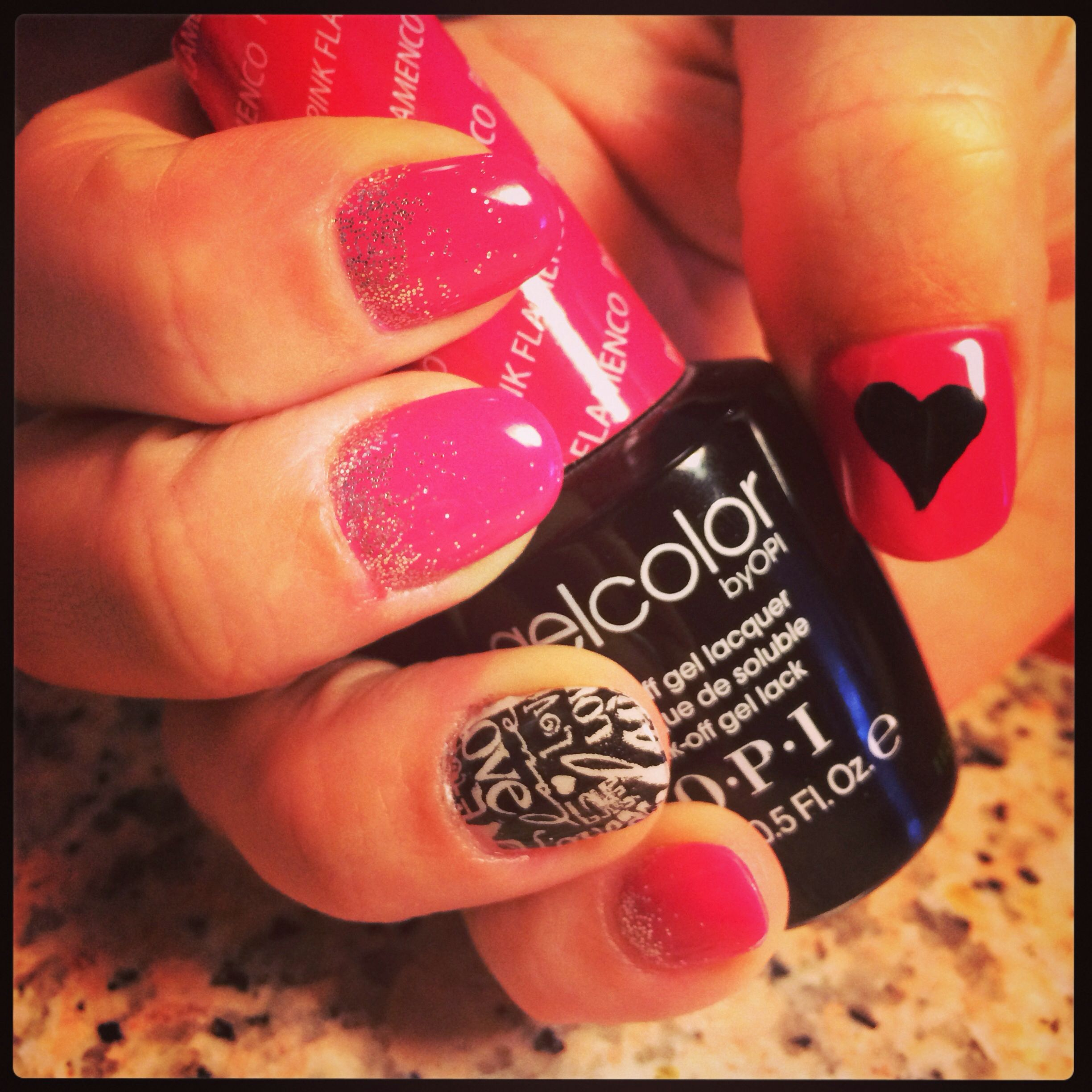 L❤️VE these Valentines Day nails! Pink Flaminco OPI gel polish is ...