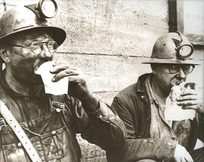 Old Iron Miners Eating Pasties Mining Helmets U.P. Michigan Pasty Eating  Miners | Michigan, Cornish pasties, Pasties