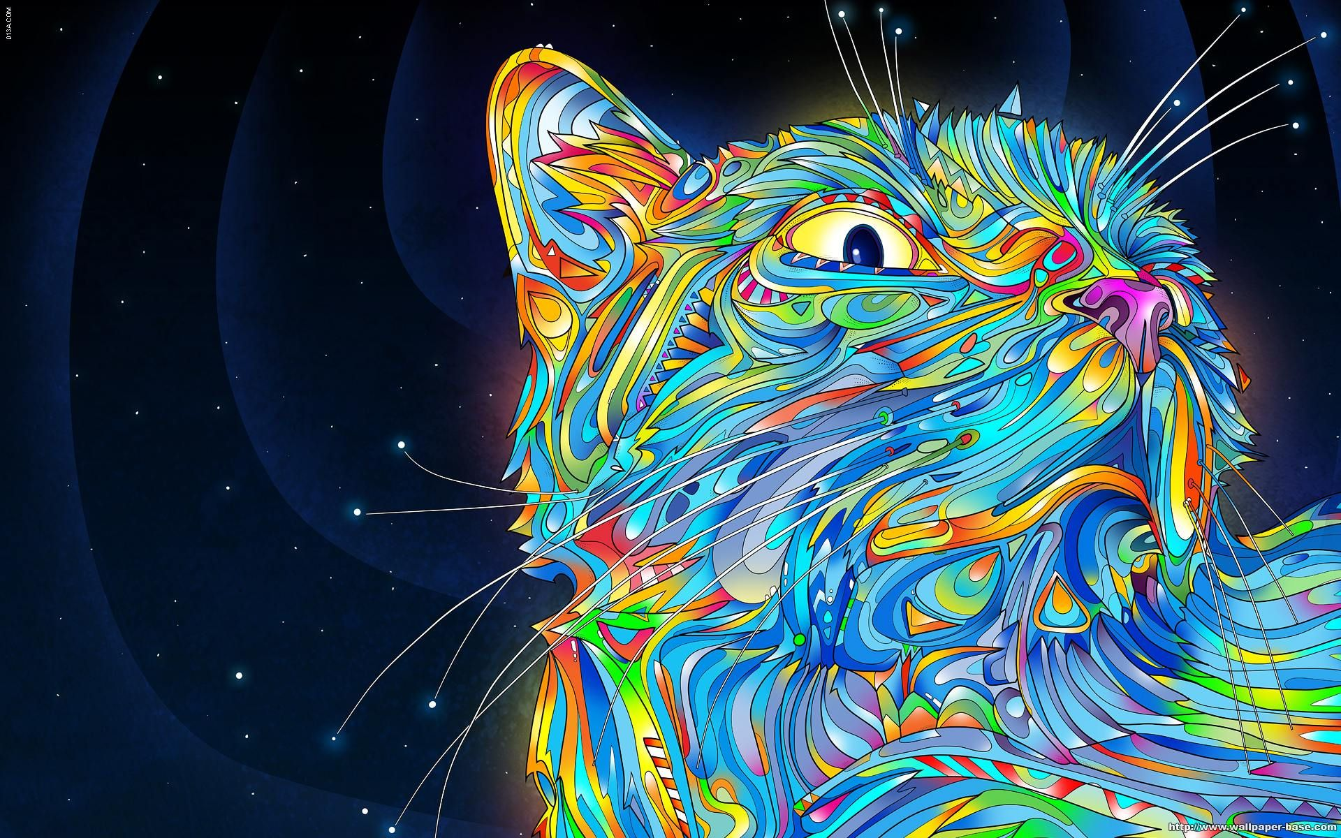 Abstract Cat Art Psychedelic Art Trippy Wallpaper Trippy Cat