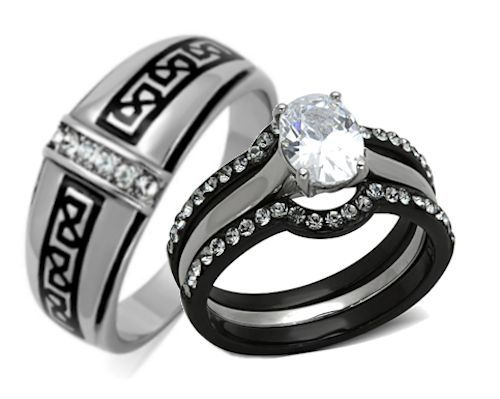 His Hers 4 Piece Black Stainless Steel Anium Matching Wedding Band Ring Set