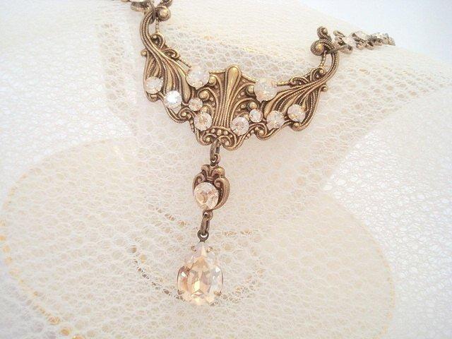 Photo of Antikes Gold Braut Halskette Hochzeit Schmuck Vintage-Stil necklaceantique Gold (im Bild) / Goldener Schatten (im Bild)