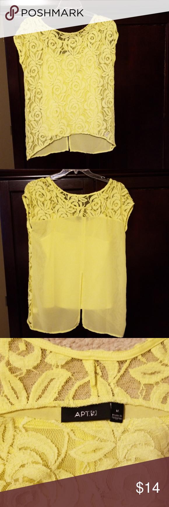 Apt yellow short sleeve lace blouse medium in my posh picks