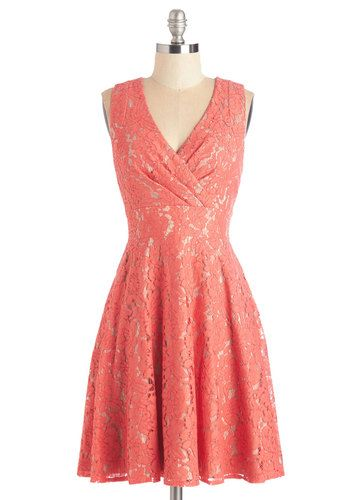 Labyrinthine Lace Dress - Mid-length, Woven, Coral, Solid, Lace, Pleats, Wedding, Daytime Party, Bridesmaid, A-line, Sleeveless, Lace, V Neck, Spring, Summer, Prom, Special Occasion
