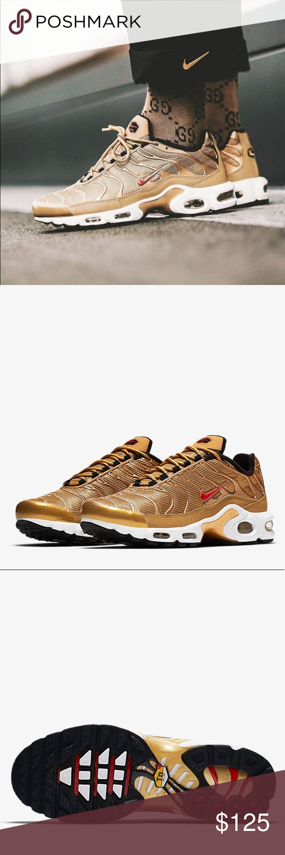 f562719a0c NWT Metallic gold Nike Air max Plus QS Brand New women size 6 100% Authentic