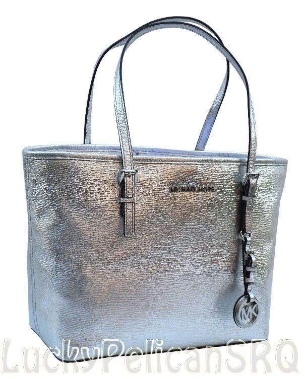 4eb101c9118b Michael Kors Silver Metallic Jet Set Small Travel Tote Bag Handbag NWT   MichaelKors  TotesShoppers