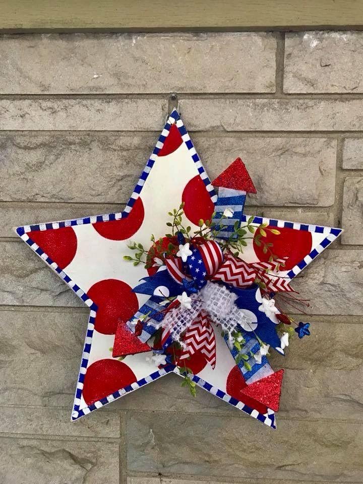 Pin By Sharon Svoboda On Door Hangers July Crafts 4th Of July Decorations Door Hangers