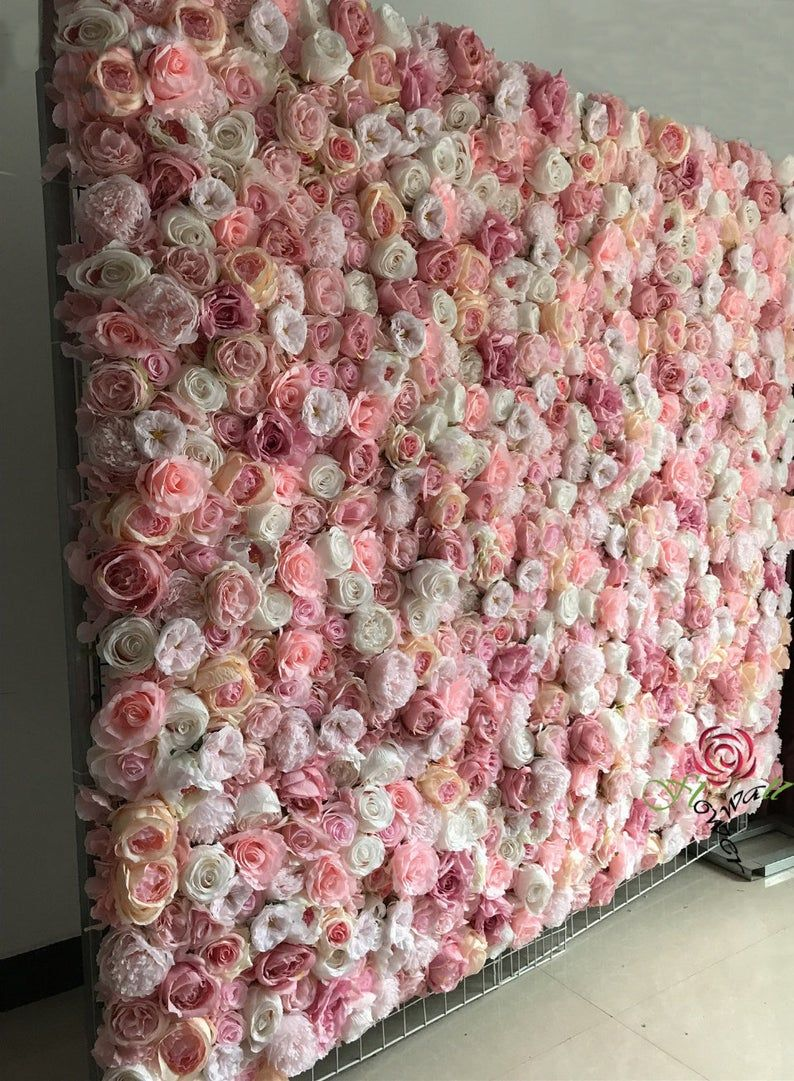 Artificial Flower Wall Backdrop For Baby Shower Floral Wall Panel Wedding Wall Arrangement Simulation Floral Panel For Photography 40 60cm In 2020 Diy Flower Wall Flower Wall Backdrop Flower Wall