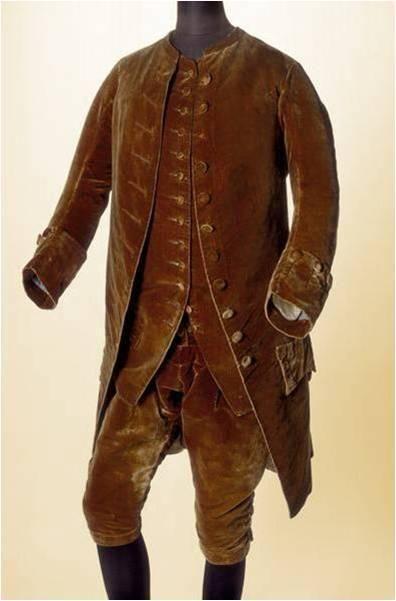 18th habit d 39 homme en velour brun habit gilet culote pont bas noir et chemise costume. Black Bedroom Furniture Sets. Home Design Ideas