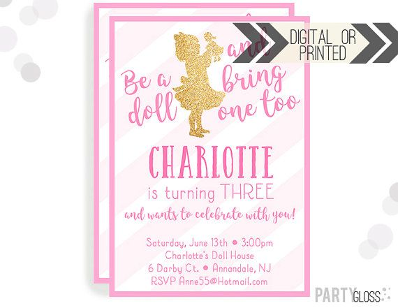 Baby Doll Party Invitation Digital Or Printed By PartyGloss