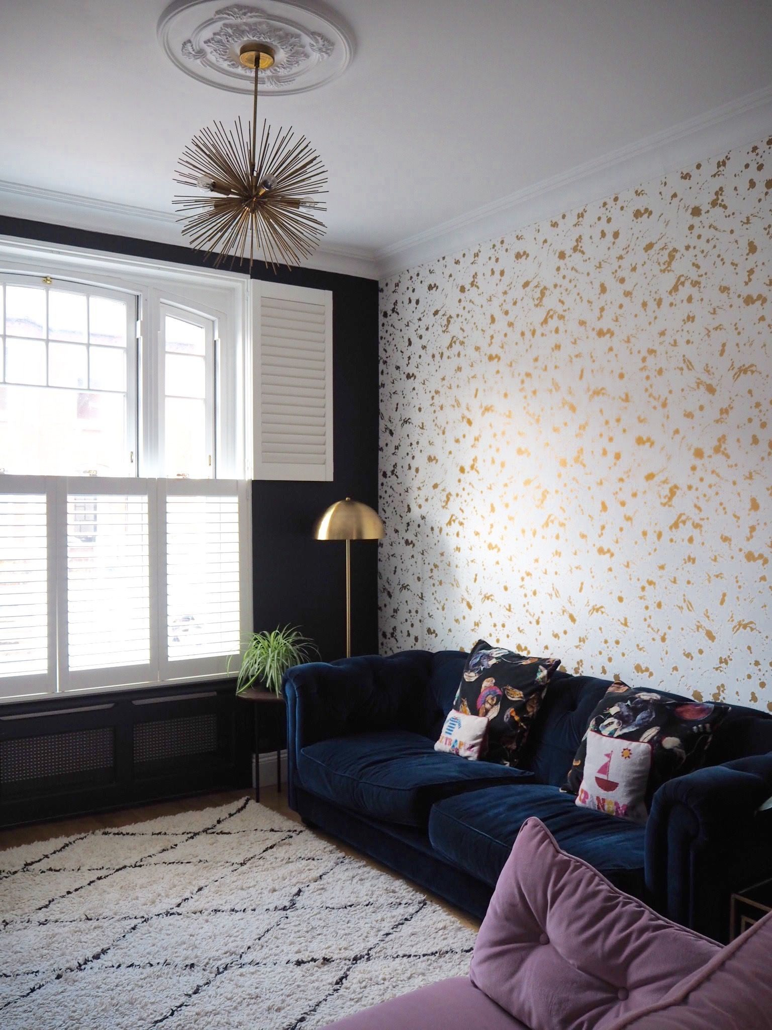 Create bold drama in your living room with a patterned