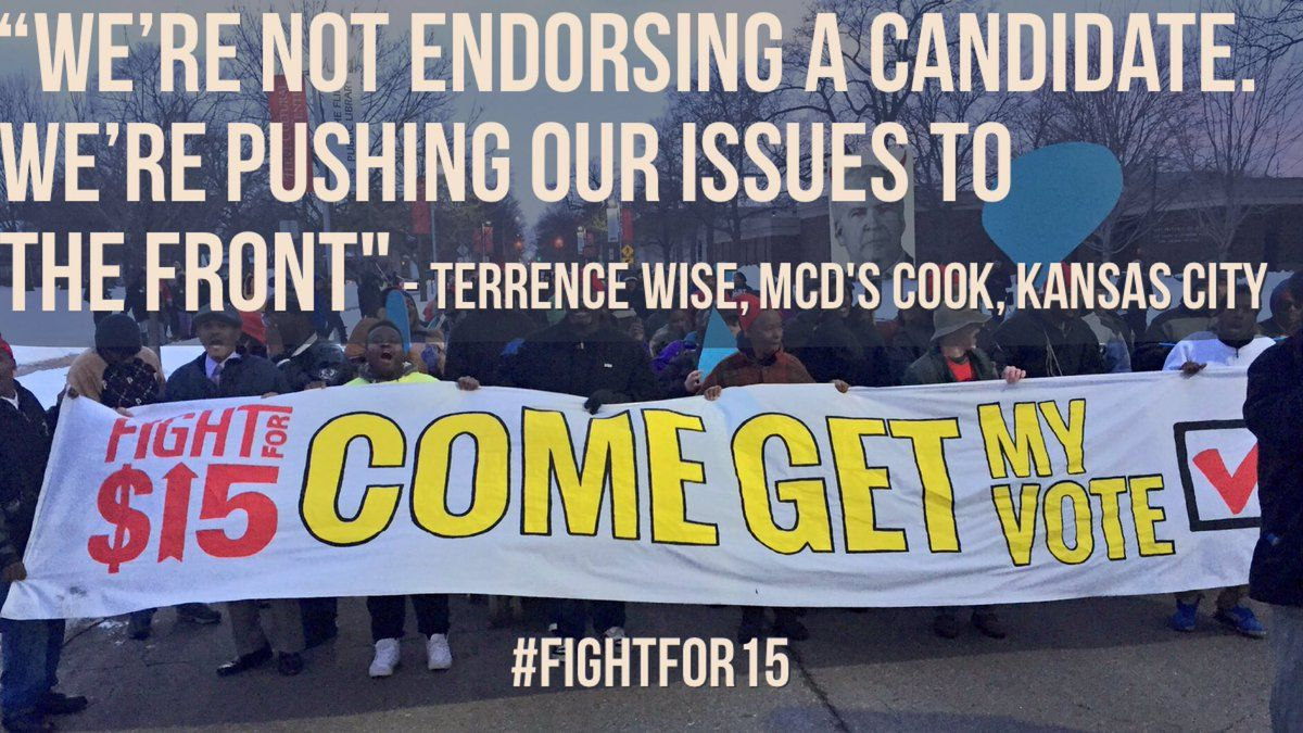 We Re Not Endorsing A Candidate We Re Pushing Our Issues To The Front Terrence Wise Mcd S Cook Kansas City Fightfor15 Wise Kansas City Hope Meaning