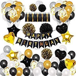 Geburtstag Party Deko schwarz silber Geburtstagsdeko Set Dekoration Jubiläum 30