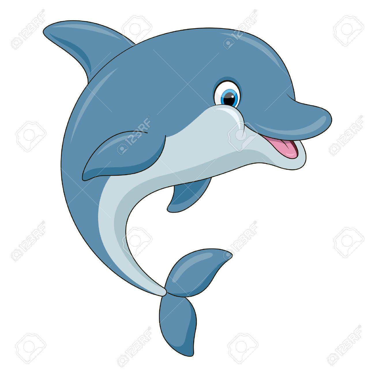 Cute Cartoon Dolphin Illustration With Simple Gradients All Cartoon Dolphin Dolphin Drawing Cartoon Sea Animals