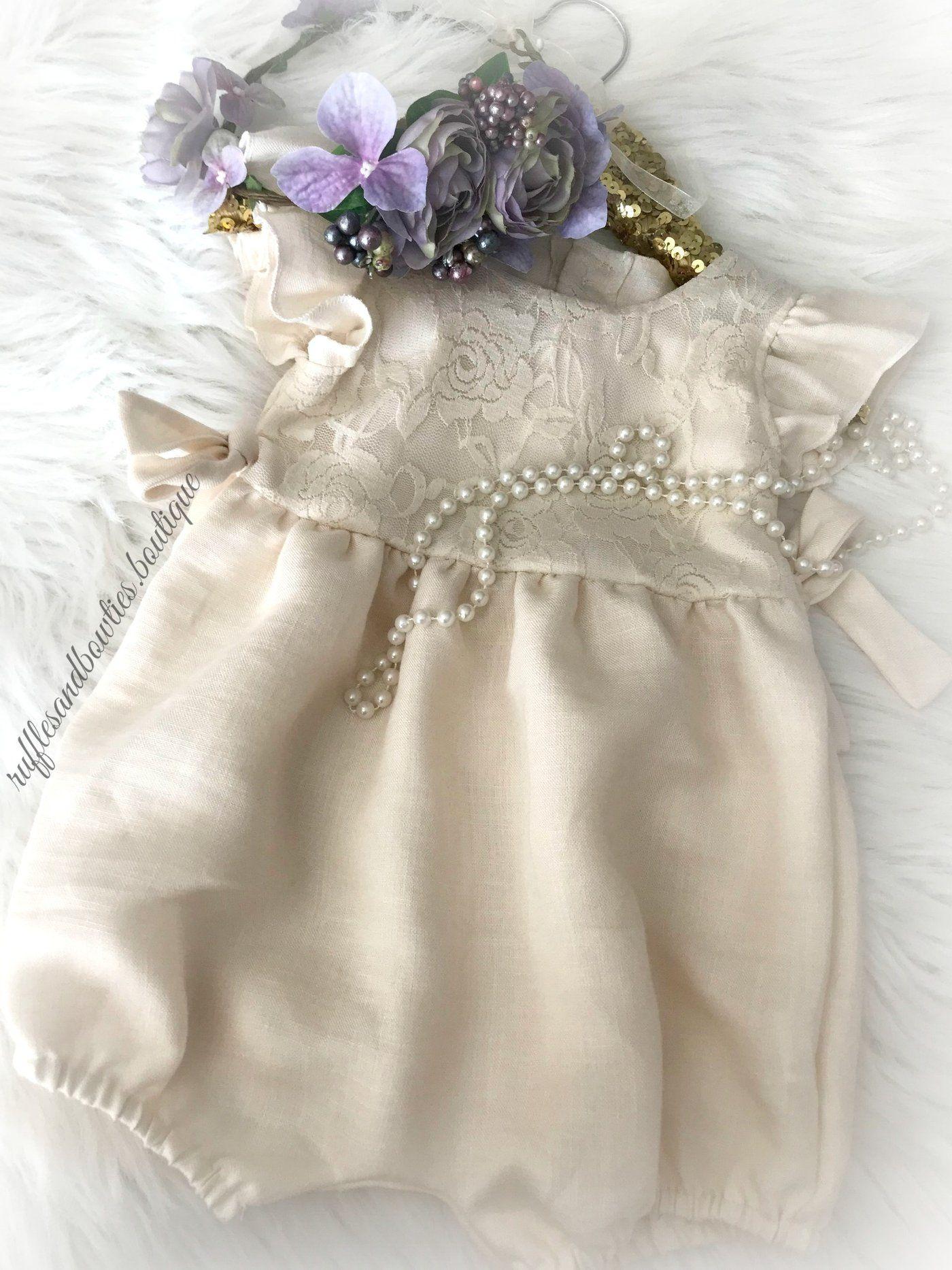 f4b0ffdb9 Baby Girls Elizabeth Ivory Lace Ruffled Cap Sleeve Buttoned Baby  Romper/Jumper