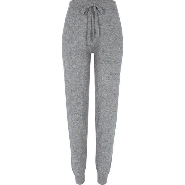 River Island Grey stripe detail knitted joggers (225 BRL) ❤ liked on Polyvore featuring activewear, activewear pants, joggers, bottoms, grey, pants, women, river island and tall activewear