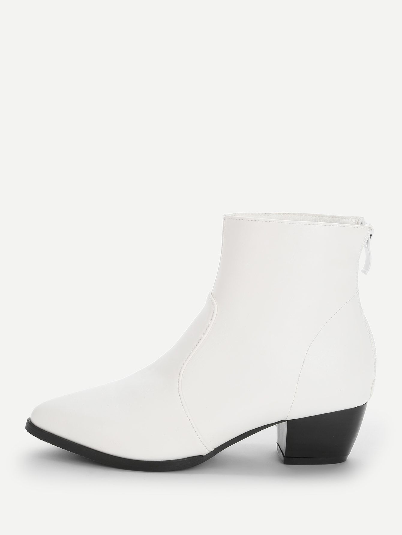 3019ec7255 Casual Plain Ankle Back zipper White Low Heel Solid Point Toe Ankle Boots