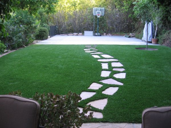 Image Of Beauty Faux Pavers For Patio With St Augustine Grass Planting And  Outdoor Free Standing