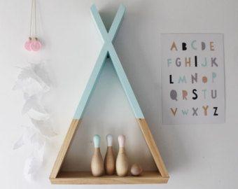 Teepee Shelf Mint Shelves Woodland Nursery Decor By Ahahonline