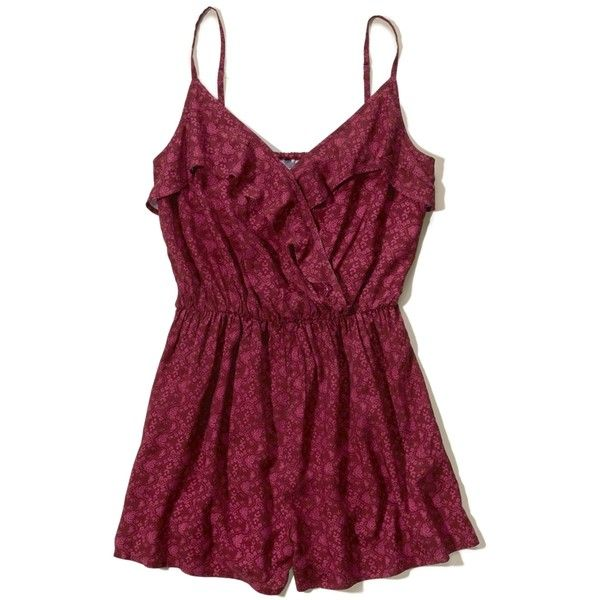Hollister Wrap Front Ruffle Romper ($40) ❤ liked on Polyvore featuring jumpsuits, rompers, burgundy pattern, wrap romper, patterned romper, wrap front romper, purple romper and playsuit romper