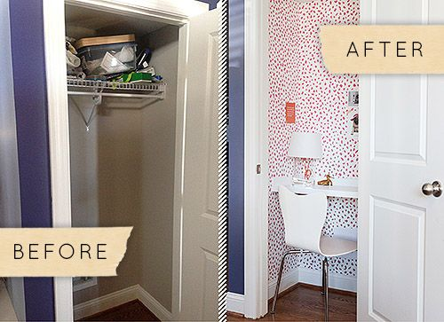 DIY Office Space   Turn A Tiny Closet Into A Charming Home Office!