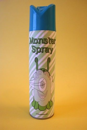"Cool idea: ""My dad used to come to our rooms armed with ""Monster Spray"" when we had nightmares.  He sprayed it under the bed, in my shoes, all the places monsters might hide. I loved it, the scent comforted me til I fell asleep."""