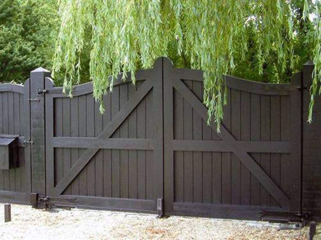 Brilliant Fence Double Gate Design Building Driveway Exterior Throughout Inspiration Decorating