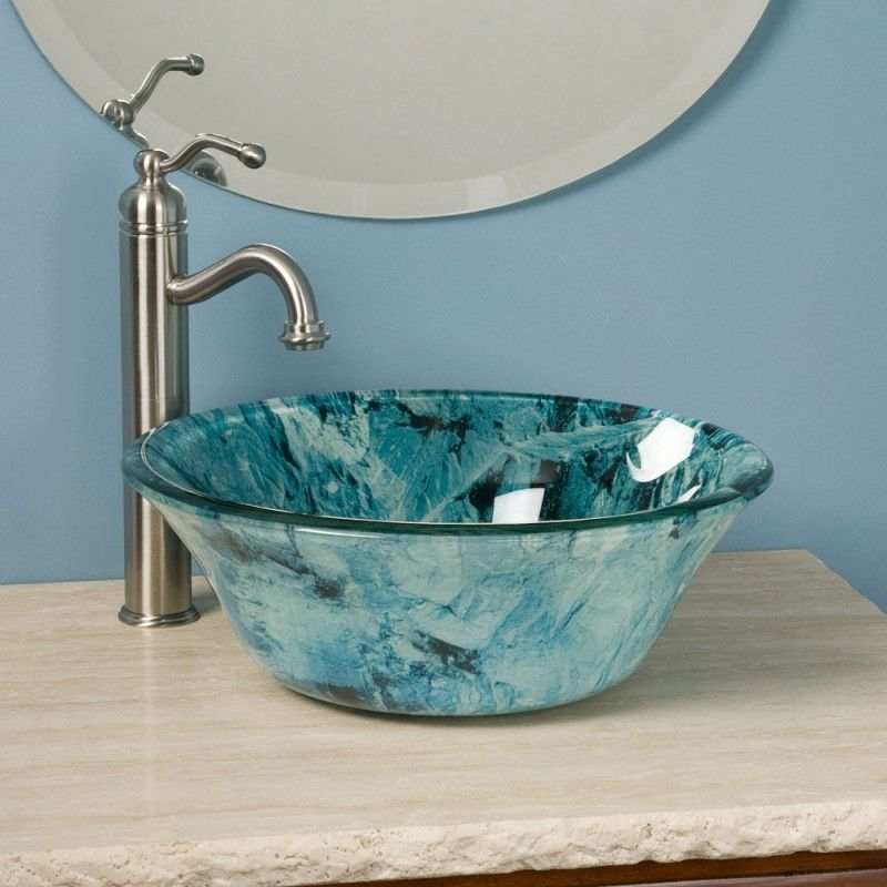 Blue Glass Vessel Sink
